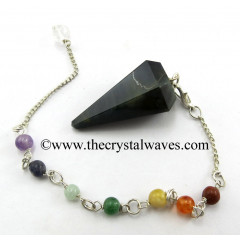 Blue / Black Tiger Eye Agate Faceted Pendulum With Chakra Chain