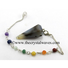 Grey Khayaldar Agate Faceted Pendulum With Chakra Chain