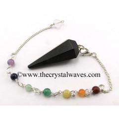 Black Agate Faceted Pendulum With Chakra Chain