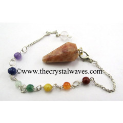 Sunstone Faceted Pendulum With Chakra Chain