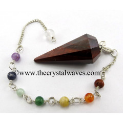 Red Tiger Eye Agate Faceted Pendulum With Chakra Chain