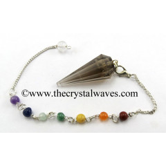 Smoky Quartz 12 Facets Pendulum With Chakra Chain