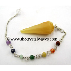 Yellow Aventurine 12 Facets Pendulum With Chakra Chain