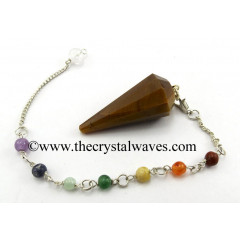 Tiger Eye Agate 12 Facets Pendulum With Chakra Chain