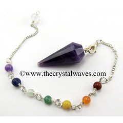 Amethyst 12 Facets Pendulum With Chakra Chain