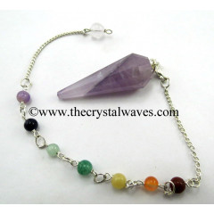Chevron Amethyst 12 Facets Pendulum With Chakra Chain