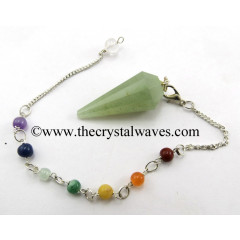 Green Aventurine (Light) 12 Facets Pendulum With Chakra Chain