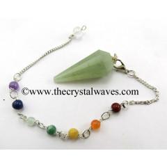 Green Aventurine (Light) 12 Facets Pendulum With Chakra Chain