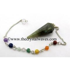 Labradorite 12 Facets Pendulum With Chakra Chain