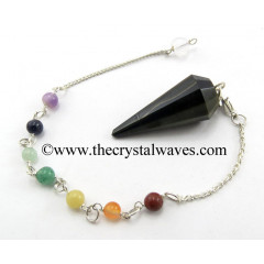 Blue / Black Tiger Eye Agate 12 Facets Pendulum With Chakra Chain