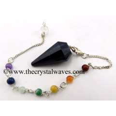 Blue Aventurine 12 Facets Pendulum With Chakra Chain