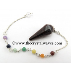 Red Tiger Eye Agate 12 Facets Pendulum With Chakra Chain