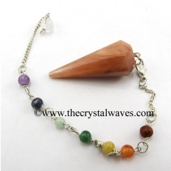 Peach Moonstone 12 Facets Pendulum With Chakra Chain