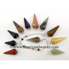 Mix Assorted Gemstone 12 Facets Pendulum With Chakra Chain