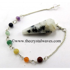 Rainbow Moonstone 12 Facets Pendulum With Chakra Chain