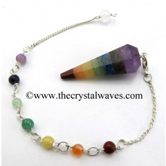 7 Chakra Bonded Faceted Pendulum With Chakra Chain