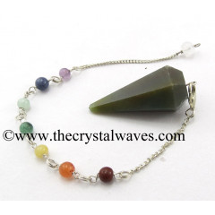 Moss Agate Faceted Pendulum With Chakra Chain