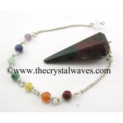 Blood Agate Faceted Pendulum With Chakra Chain