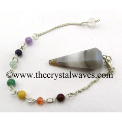 Lace Agate Faceted Pendulum With Chakra Chain