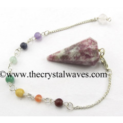 Lepidolite Faceted Pendulum With Chakra Chain