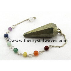 Pyrite Faceted Pendulum With Chakra Chain