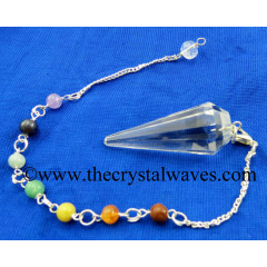 Crystal Quartz AA Grade 12 Facets Pendulum With Chakra Chain