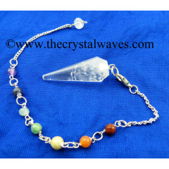 Crystal Quartz B Grade 12 Facets Pendulum With Chakra Chain