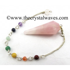 Rose Quartz 12 Facets Pendulum With Chakra Chain