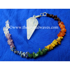 Crystal Quartz C Grade Faceted Pendulum With Chakra Chips Chain