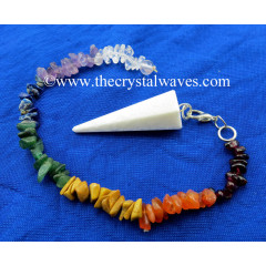 Scolecite Faceted Pendulum With Chakra Chips Chain
