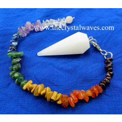 Snow Quartz Faceted Pendulum With Chakra Chips Chain