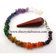 Red Jasper Faceted Pendulum With Chakra Chips Chain