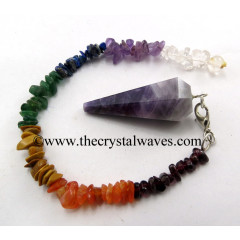 Chevron Amethyst Faceted Pendulum With Chakra Chips Chain