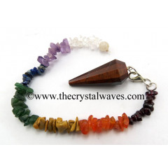 Red Riger Eye Agate 12 Facets Pendulum With Chakra Chips Chain
