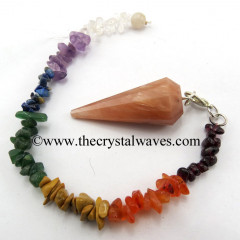 Peach Moonstone 12 Facets Pendulum With Chakra Chips Chain