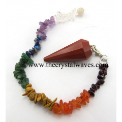 Red Jasper 12 Facets Pendulum With Chakra Chips Chain