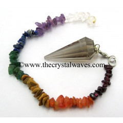 Smoky Quartz 12 Facets Pendulum With Chakra Chips Chain