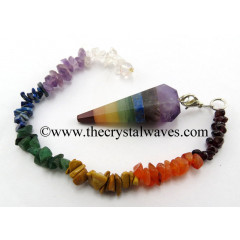 7 Chakra Bonded Faceted Pendulum With Chakra Chips Chain