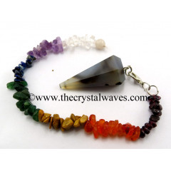 Grey Khayaldar Agate Faceted Pendulum With Chakra Chips Chain