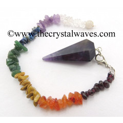 Amethyst Faceted Pendulum With Chakra Chips Chain