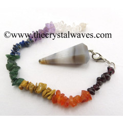 Lace Agate Faceted Pendulum With Chakra Chips Chain