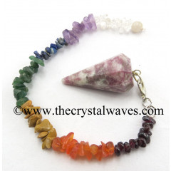 Lepidolite Faceted Pendulum With Chakra Chips Chain