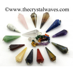 Mix Assorted Gemstone 12 Facets Pendulum With Chakra Chips Chain