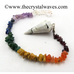 Rainbow Moonstone 12 Facets Pendulum With Chakra Chips Chain