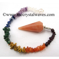 Red Aventurine 12 Facets Pendulum With Chakra Chips Chain