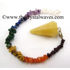 Yellow Aventurine Faceted Pendulum With Chakra Chips Chain