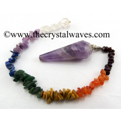 Amethyst 12 Facets Pendulum With Chakra Chips Chain