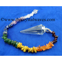 Crystal Quartz AA Grade 12 Facets Pendulum With Chakra Chips Chain