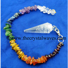 Crystal Quartz B Grade 12 Facets Pendulum With Chakra Chips Chain