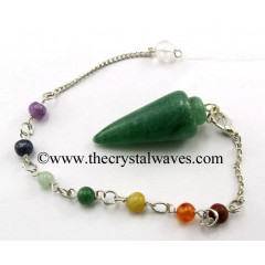 Green Aventurine (Dark) Smooth Pendulum With Chakra Chain